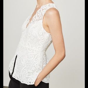BCBG MAXAZRIA  Sleeveless Lace Peplum Top Size XS